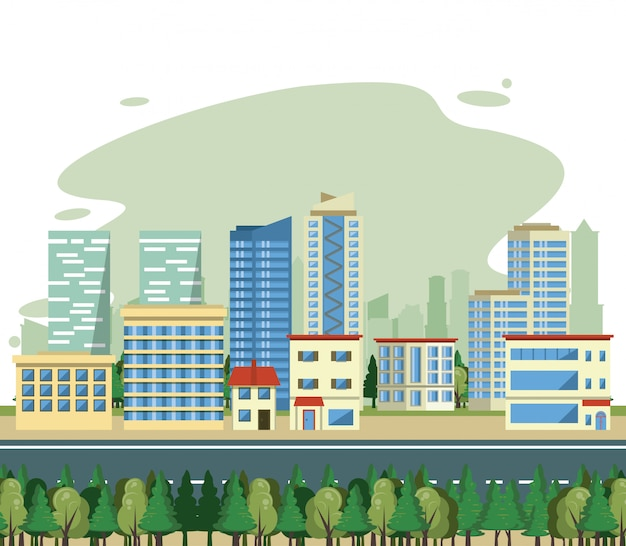 Cenário da opinião da arquitectura da cidade dos edifícios urbanos