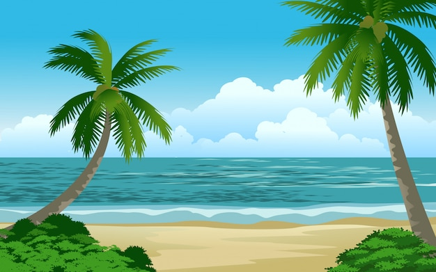 Cenário de bela praia tropical com palmeiras