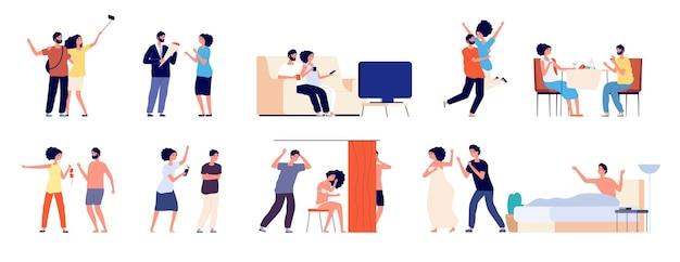 Cenário de cenas de amor e adultério