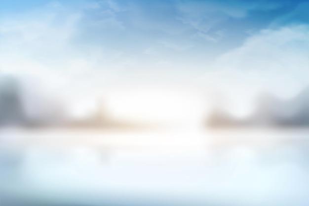 Cenário de céu azul de bokeh em ilustração 3d
