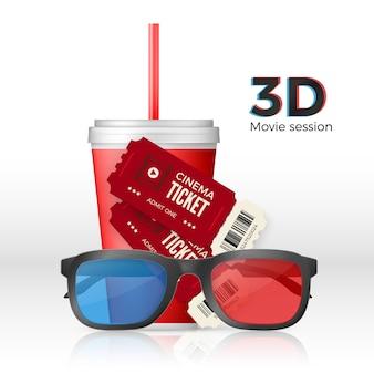 Cenário de cinema - ingressos para óculos 3d e um copo de bebida.