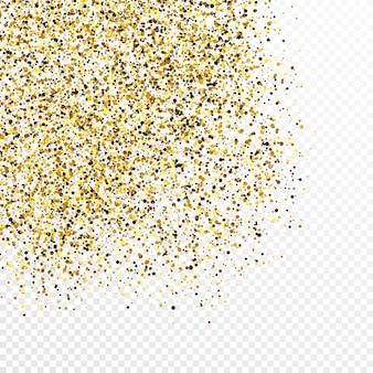 Cenário de confetes de glitter dourados isolado em fundo branco transparente. textura comemorativa com efeito de luz brilhante. ilustração vetorial.
