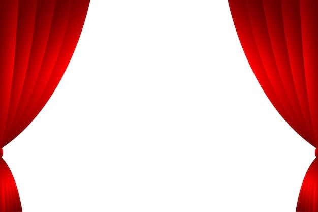 Cenário de cortina vermelha isolar. ilustração vetorial
