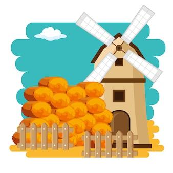Cenário de fazenda de país de moinho de vento