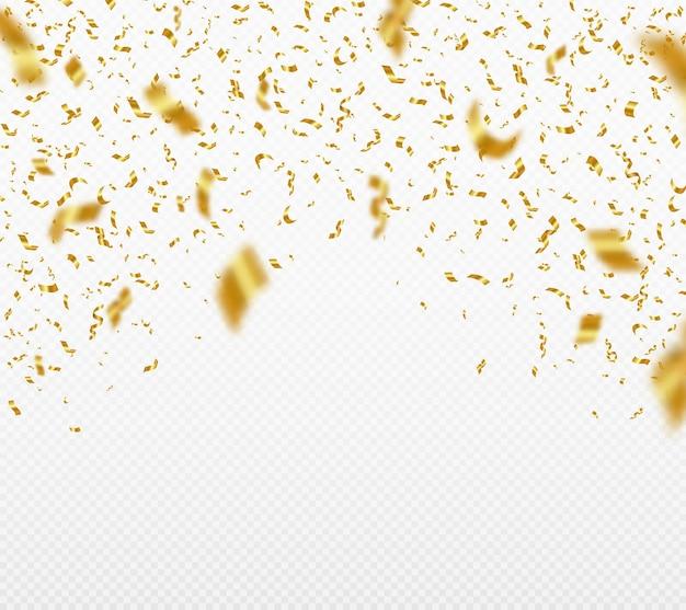 Cenário de festa de confete dourado brilhante caindo