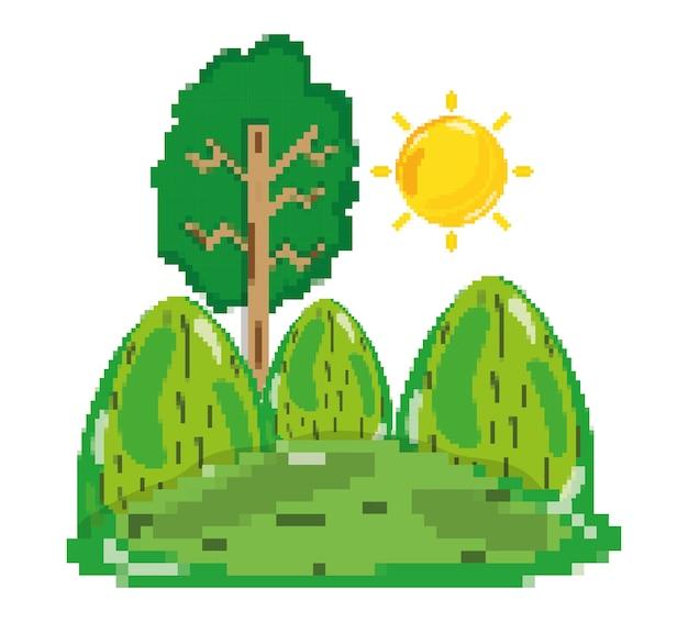 Cenário de floresta pixelizada