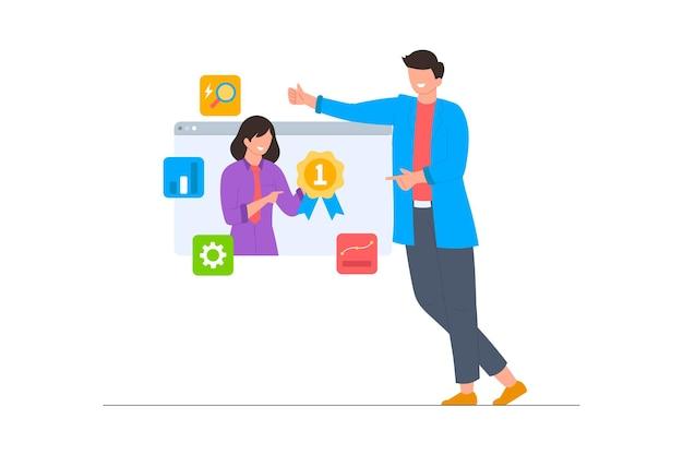 Cenário de ilustração de curso on-line de otimização de seo