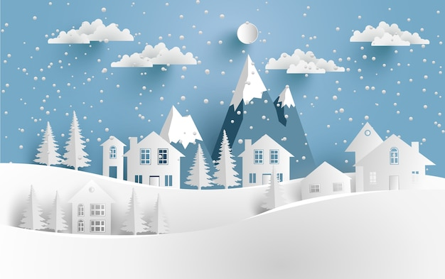 Cenário de inverno com neve e casas na colina. arte de design e artesanato