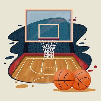Cenário de jogo de basquete esporte