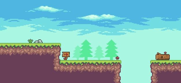 Cenário de jogo de fliperama pixel art