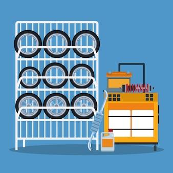 Cenário de loja de reparo do carro com carrinho de ferramentas e rack de pneus de carro