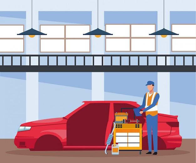 Cenário de loja de reparo do carro com corpo de carro e mecânico em pé com carrinho de ferramentas