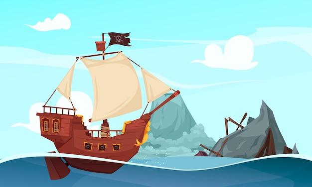 Cenário de mar aberto com montanha, destroços de barco e navio pirata à vela com ilustração de bandeira