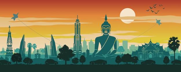 Cenário de marco famoso de tailândia