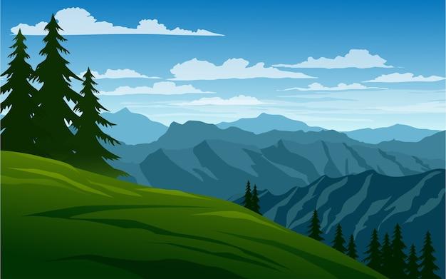 Cenário de montanha em estilo simples com pinheiros