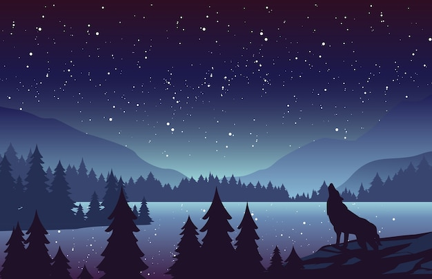 Cenário de natureza noturna com pinheiros e colinas no horizonte. lobo uivando na lua cheia. estrelas no céu.