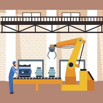 Cenário de oficina de carro com homem trabalhando com motores de carros e alternatos na máquina