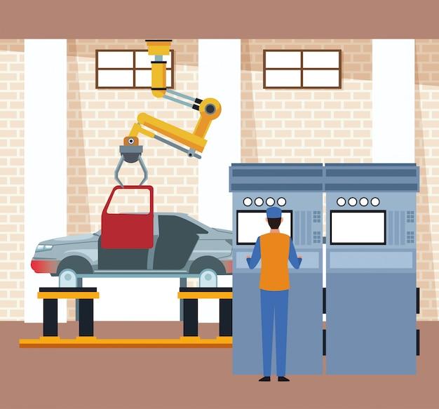 Cenário de oficina de carro com máquina industrial de braço segurando uma porta e mecânico supervisionando o processo