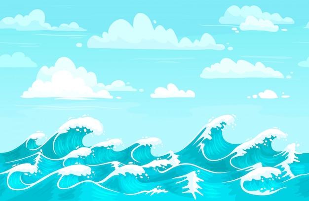 Cenário de ondas do oceano. água do mar, ondas de tempestade e aqua cartoon sem costura vector a ilustração de fundo