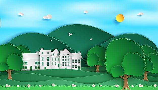 Cenário de paisagem. e vista da natureza verde floresta. e cidade eco verde.