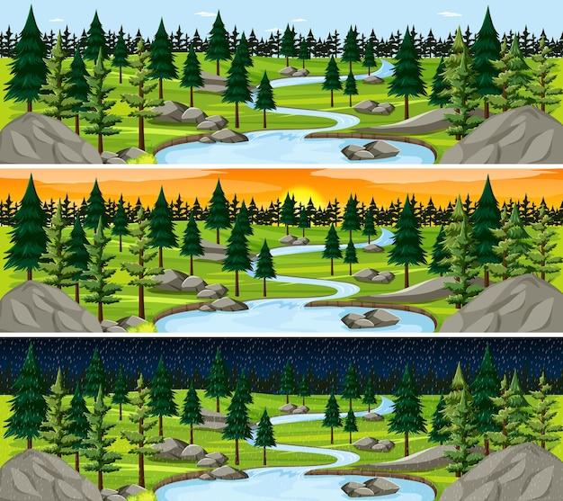 Cenário de paisagens naturais em diferentes horas do dia