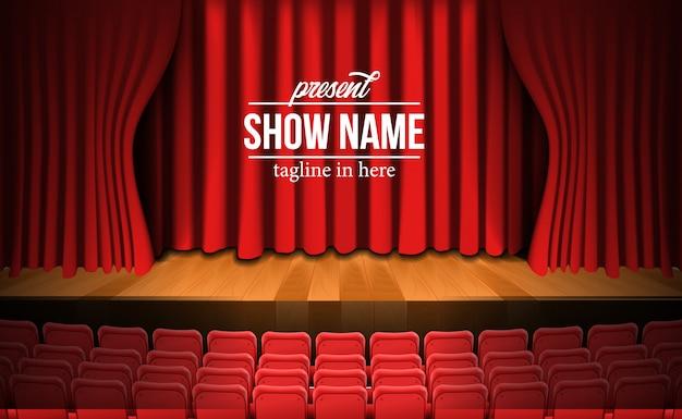 Cenário de palco de cinema de teatro de vista frontal com cortina vermelha e piso de madeira e vazios assentos vermelhos