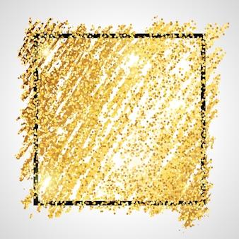 Cenário de pintura dourada brilhante com moldura quadrada preta sobre um fundo branco. fundo com brilhos de ouro e efeito de glitter. espaço vazio para o seu texto. ilustração vetorial
