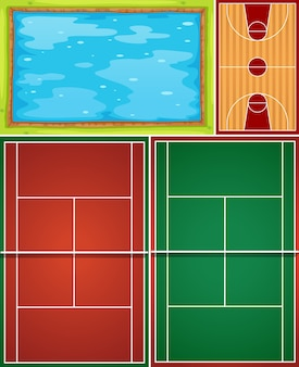 Cenário de piscina aérea e quadra de basquete