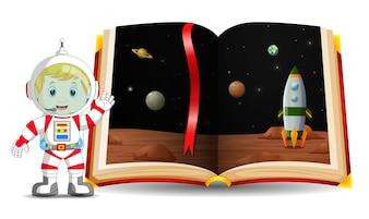 Cenário de planeta no livro e garoto