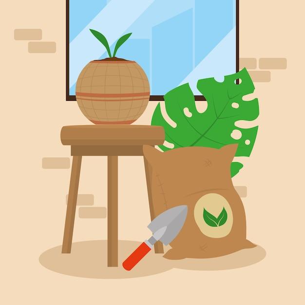 Cenário de plantas de casa e sacos de fertilizantes