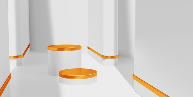 Cenário de pódio interno luxuoso e mínimo em branco e dourado para apresentação do produto