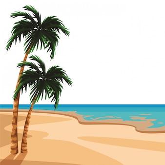 Cenário de praia e ilha