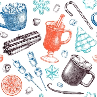 Cenário de sobremesas de inverno e bebidas quentes feitas à mão