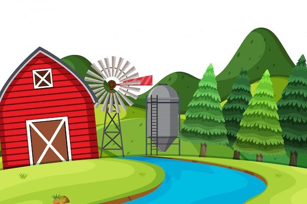 Cenário de terras agrícolas com celeiro vermelho
