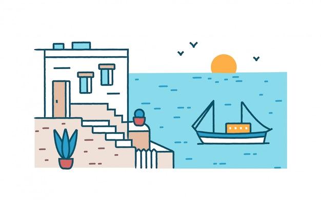 Cenário de verão com bela casa edifício permanente contra barco