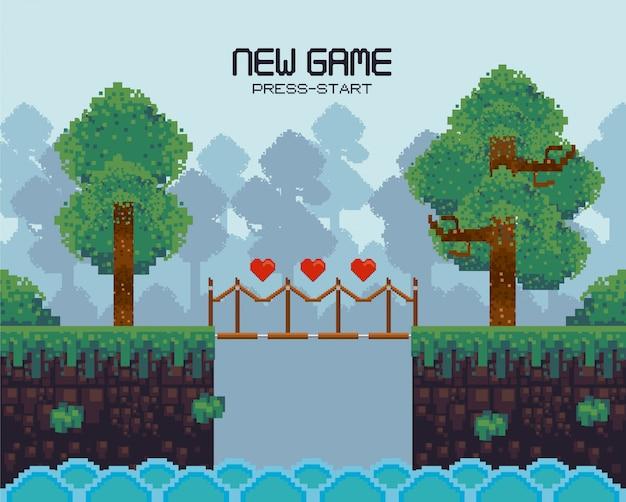Cenário de videogame retrô com terreno pixelizado