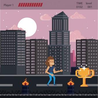 Cenário de videogame urbano pixelizado para luta