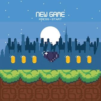 Cenário de videogame urbano pixelizado