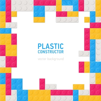 Cenário decorativo quadrado ou com moldura ou borda feita de detalhes de construção de plástico