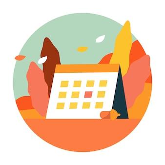 Cenário do outono com calendário de atividade do outono.