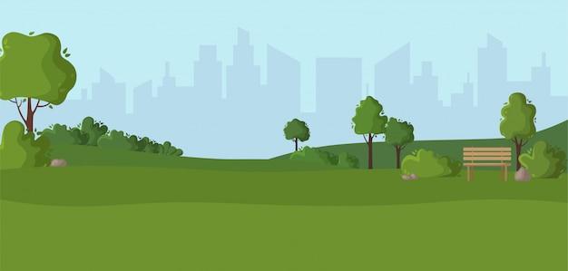 Cenário dos desenhos animados ou espaço verde do parque e cópia - lugar verde ao ar livre da natureza com árvores, pedras, arbustos