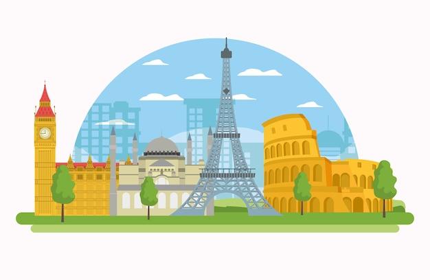 Cenário dos monumentos da europa