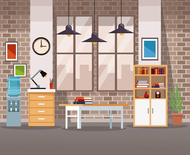 Cenário interior do escritório