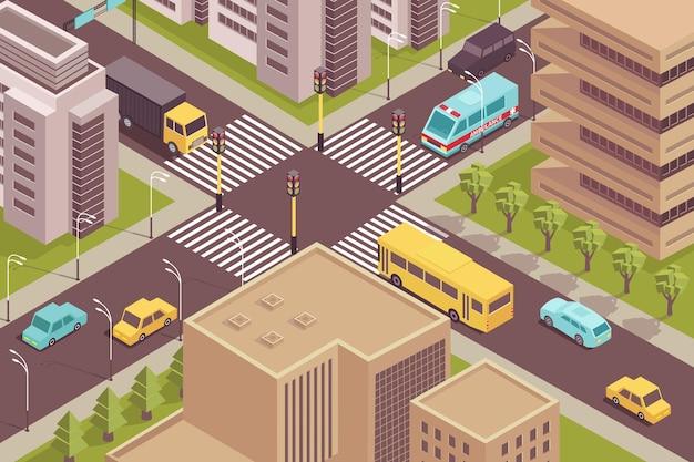 Cenário isométrico da cidade rodoviária com vista panorâmica do cruzamento sinalizado com carros e ilustração de edifícios modernos