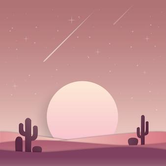 Cenário lua ou sol, pôr do sol ou nascer do sol na paisagem do deserto