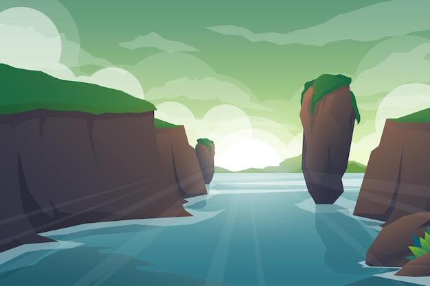 Cenário natural tropical com rio através de rochas, paisagem de selva de penhascos, córregos de água fluindo, florestas exóticas verdes com natureza selvagem e ilustração de fundo de folhagem de arbusto