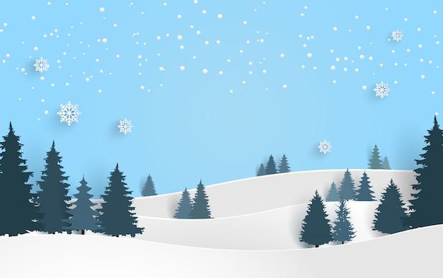 Cenário no inverno. neve e lindos pinheiros. design de arte de papel