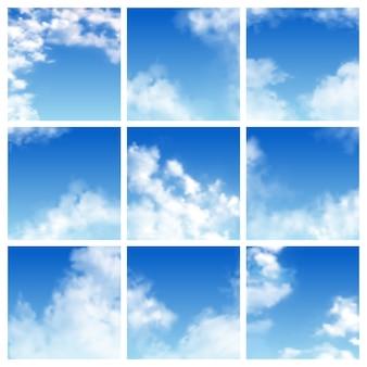 Cenário nublado de céu padrão e azul nublado horizonte céu papel de parede ilustração conjunto de cloudscape