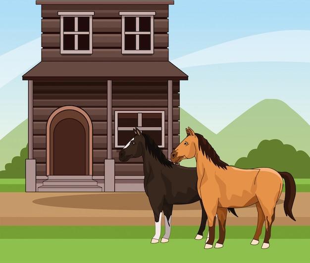 Cenário ocidental com cavalos e edifício de madeira sobre a paisagem