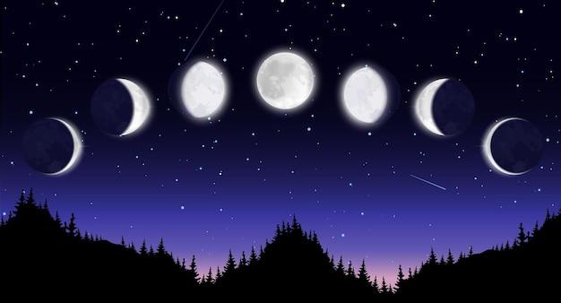 Cenário panorâmico noturno com floresta